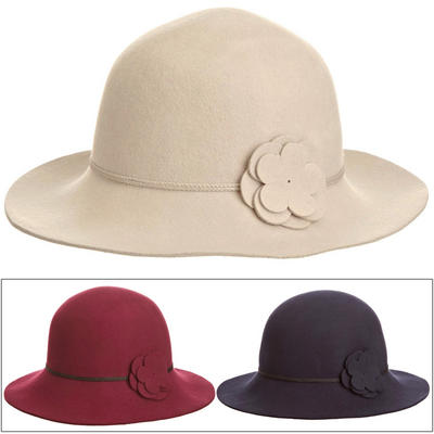 Ladies Eloise Downward Brim Hat With Cord Band & Fabric Flower Claret Navy Or Stone