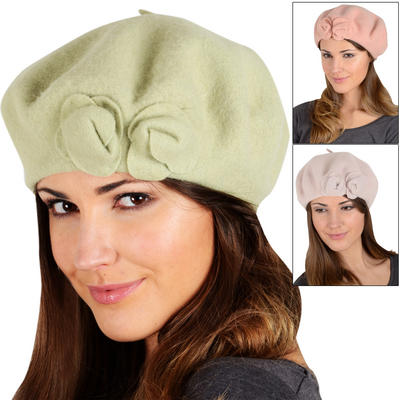 Pippa Ladies Classic Wool Beret With Attached Roses Avocado Peach Or Mauve
