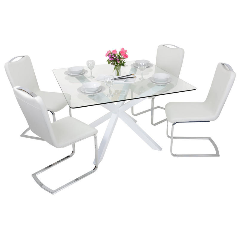 square white glass dining table set with four chairs. Black Bedroom Furniture Sets. Home Design Ideas