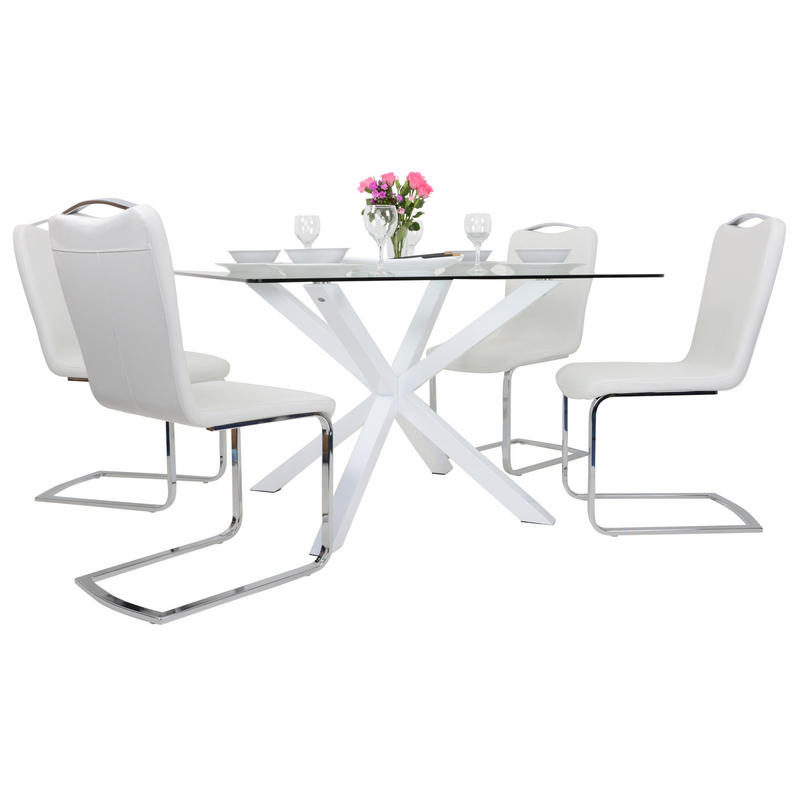 Square white glass dining table set with four chairs for Square dining table for 4