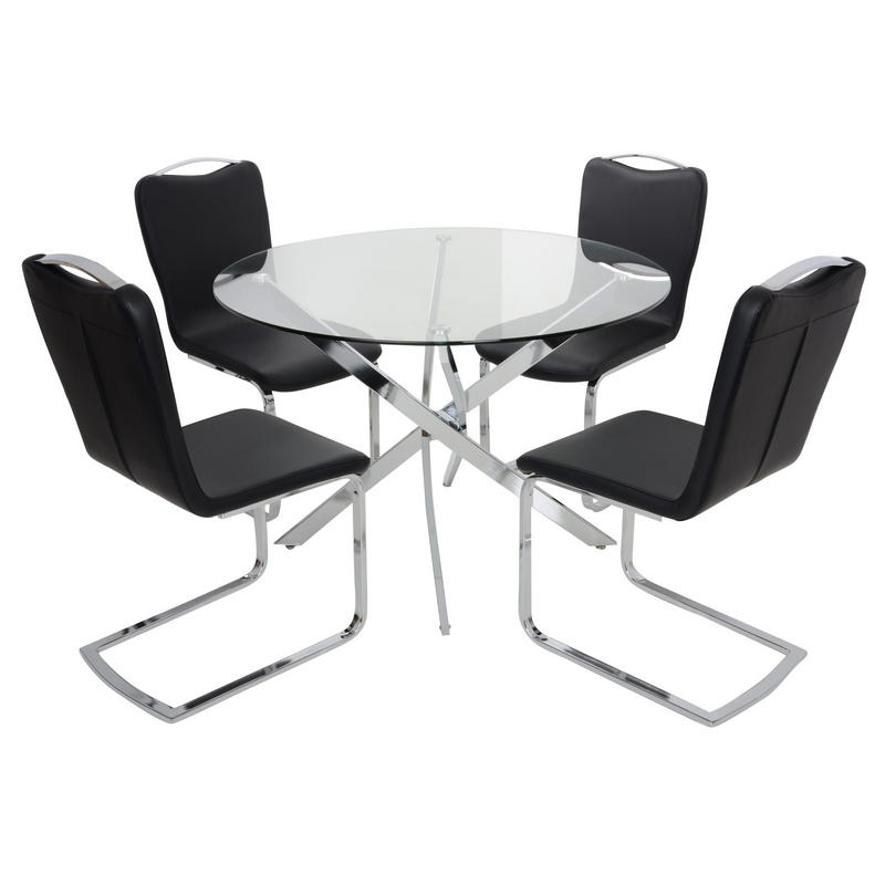 Round glass top dining table set with 4 black chairs for Round glass dining table set