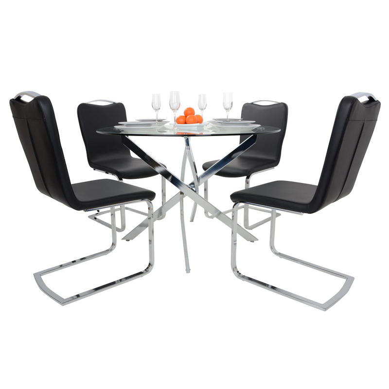 Round glass top dining table set with 4 black chairs for 110cm round glass dining table