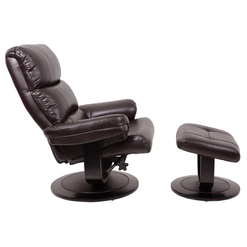 Luxury Dark Brown Relaxer Chair Recliner Armchair With