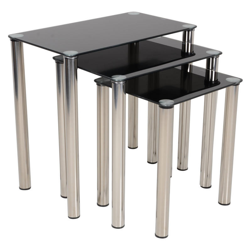 Contemporary Nesting Tables ~ Modern black glass nova nest of tables nesting set three