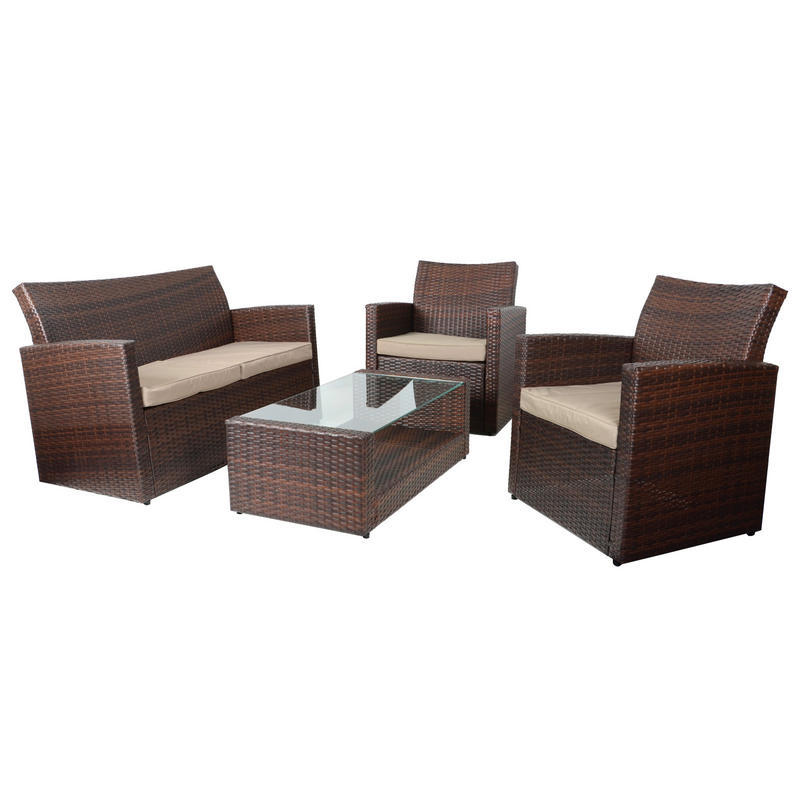 Taupe Wicker Coffee Table: Brown Tuscany Rattan Wicker Sofa Garden Set With Coffee Table