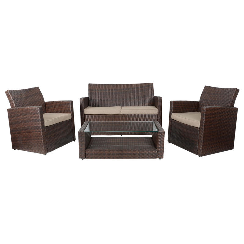 Brown Tuscany Rattan Wicker Sofa Garden Set With Coffee Table