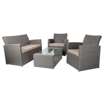 Mocha/Grey Tuscany Rattan Wicker Sofa Garden Set With Coffee Table