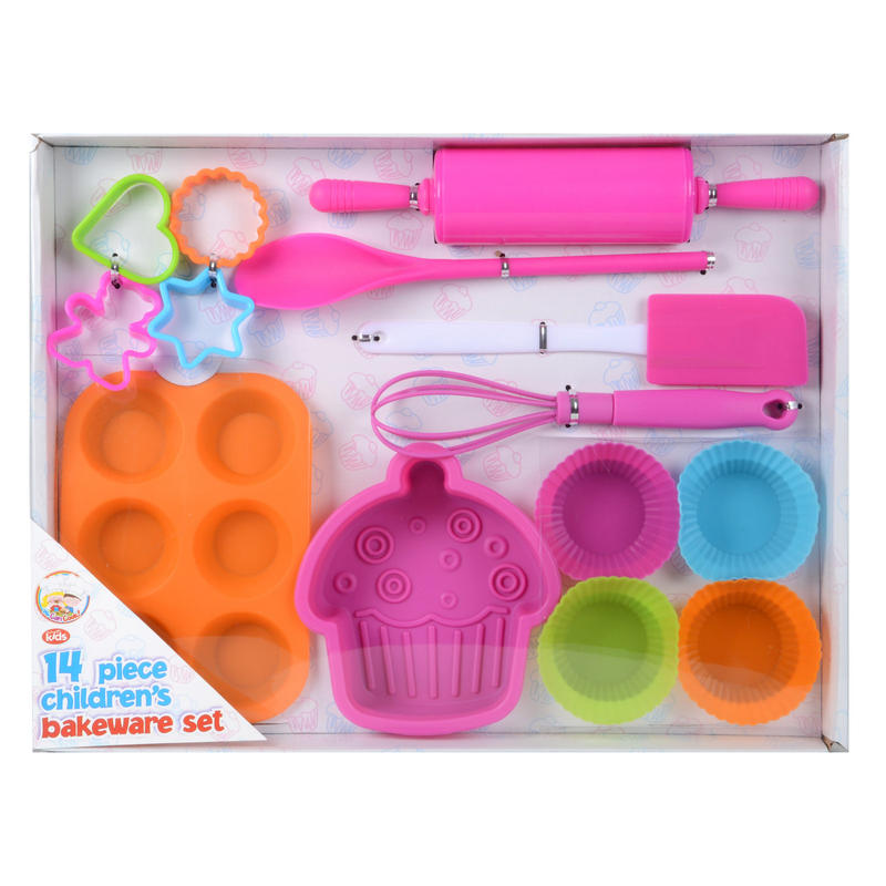 14 piece childrens silicone bakeware baking set kit. Black Bedroom Furniture Sets. Home Design Ideas
