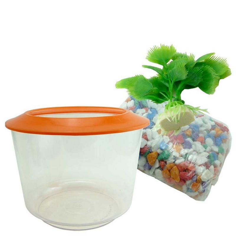 Goldfish starter set aquarium bowl gravel plant included for Fish bowl plants
