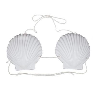 Hawaiian 15cm White Shell Cup String Bra Bikini