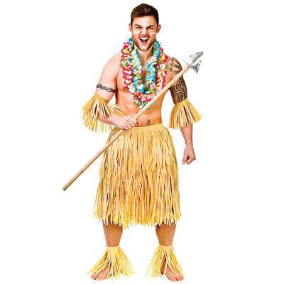 Hawaiian Party Guy 5 Piece Authentic Raffia Grass Set