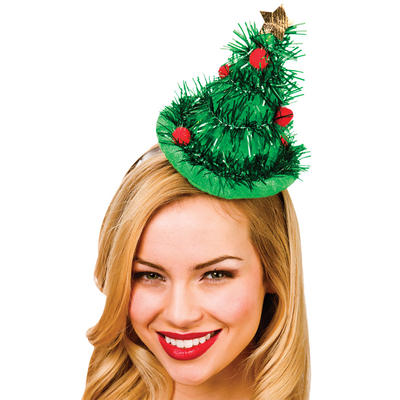 Adults Tinsel Tree Hat On Headband Christmas Fancy Dress Accessory