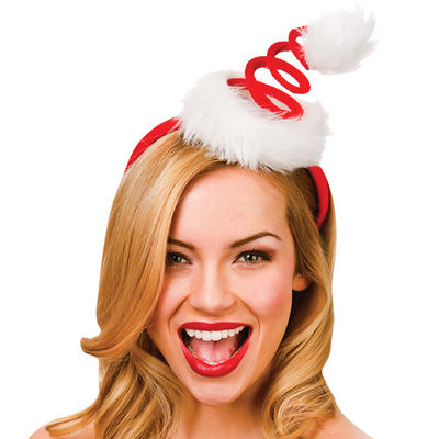 Red Spiral Santas Hat on Headband Christmas Fancy Dress Accessory