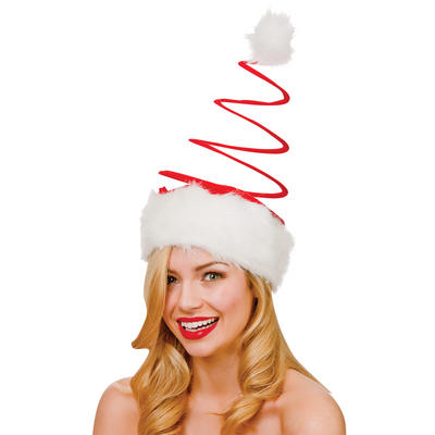 Adults Large Red Spiral Santa Hat Christmas Fancy Dress Accessory