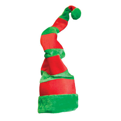 Adults Giant Crazy Red and Green Elf Hat Christmas Fancy Dress Accessory