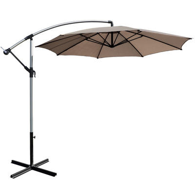 3m Taupe Overhanging Garden Parasol Sun Shade With Crank Mechanism