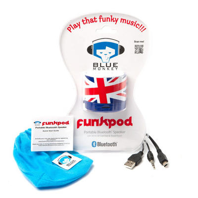 Blue Monkey Union Jack Design Funk Pod Portable Bluetooth Speaker