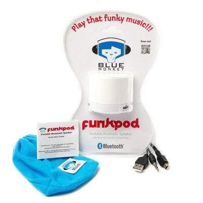 Blue Monkey White Funk Pod Portable Bluetooth Speaker