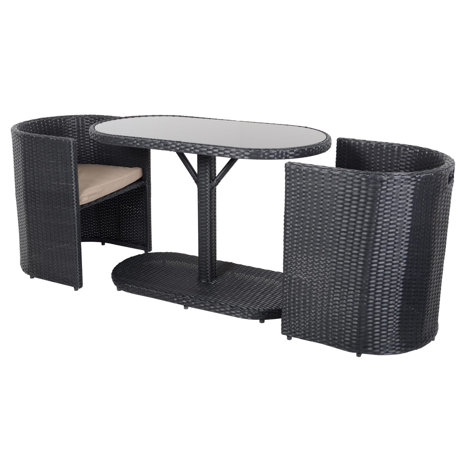 Latina Bistro Garden Glass Top Table Furniture Set With 2 Rattan