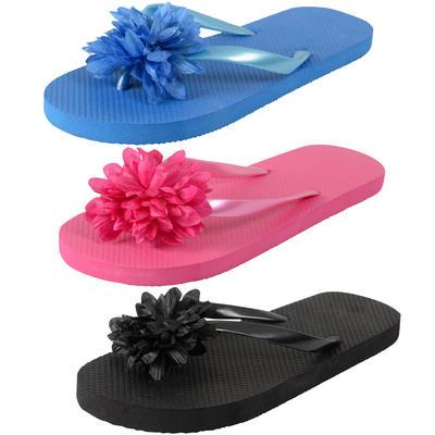 Ladies Flip Flop Beach Sandals With Flower New
