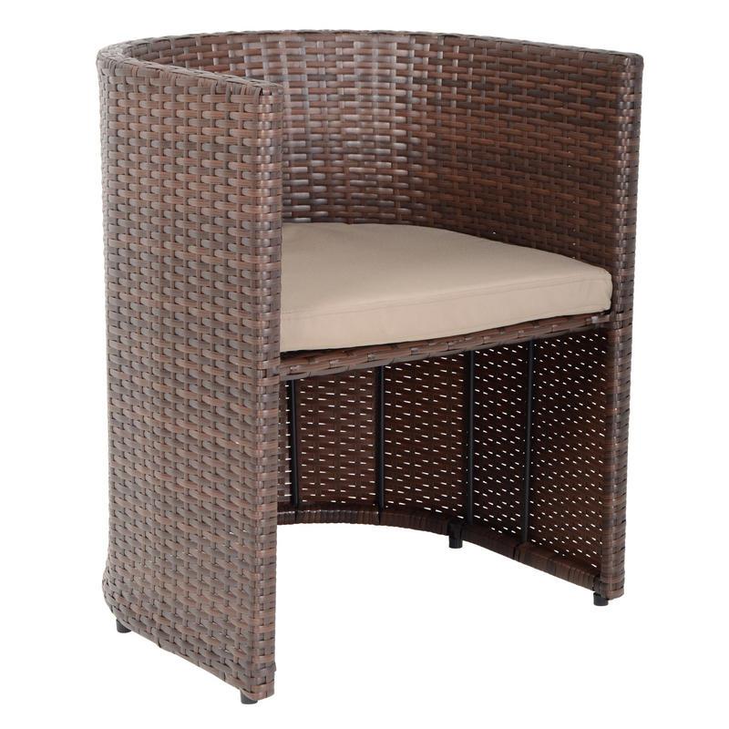 Brown latina bistro garden table chairs rattan wicker furniture set - Cane bistro chairs ...