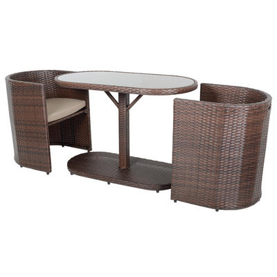 Brown Latina Bistro Garden Table Chairs Rattan Wicker Furniture Set