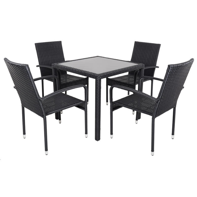 Black modena rattan wicker dining table with 4 chairs for Black dining sets with 4 chairs