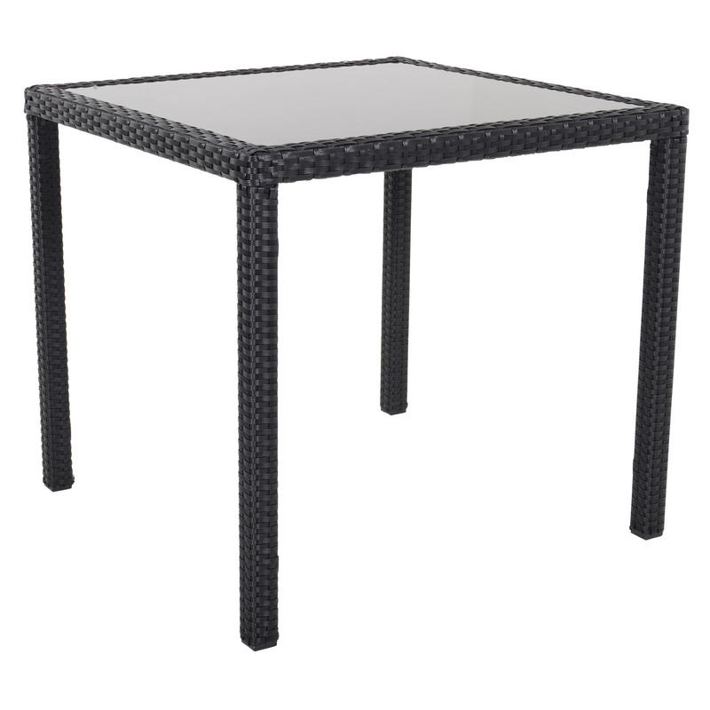 Black Modena Rattan Wicker Dining Table With 4 Chairs ...