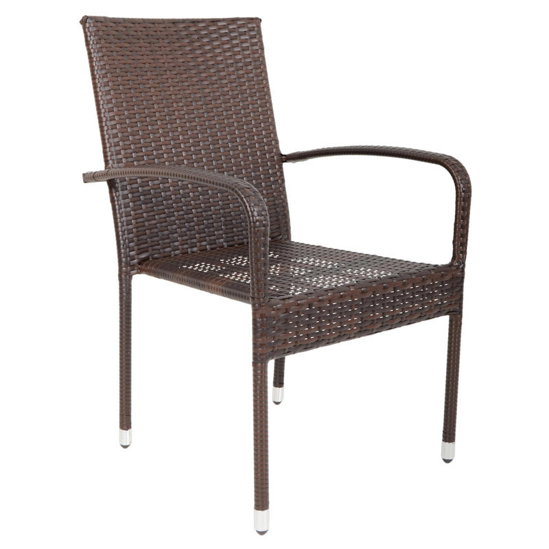 Brown Modena Rattan Wicker Dining Table With 4 Chairs ...
