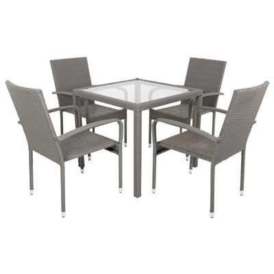 Mocha Modena Rattan Wicker Dining Table With 4 Chairs Garden Set