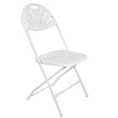 Set Of 2 White Folding Plastic Chairs With Sunrise Backrest Indoor / Garden Seat