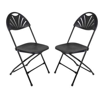 Set Of 2 Black Folding Plastic Chairs With Sunrise Backrest Indoor / Garden Seat