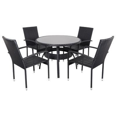 Black Ravenna Rattan Wicker Garden Dining Table Set With 4 Chairs