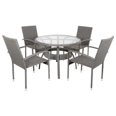 Mocha Ravenna Rattan Wicker Garden Dining Table Set With 4 Chairs