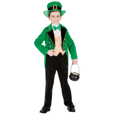 Deluxe Leprechaun Boy Halloween Fancy Dress Up Party Costume