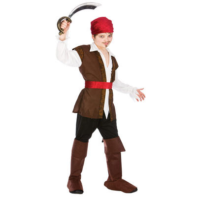 Boys Caribben Pirate Halloween Fancy Dress Up Costume