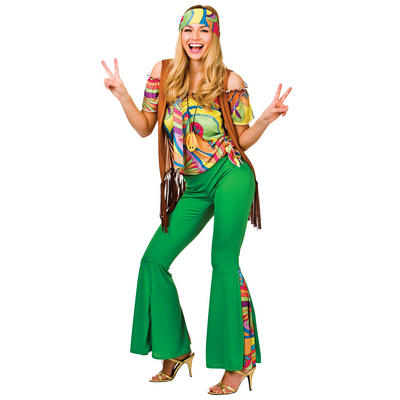 Ladies Groovy Hippy Fancy Dress Halloween Costume