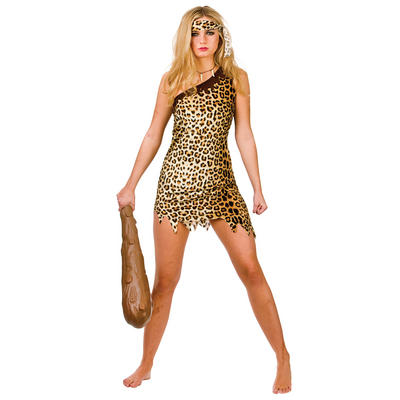 Ladies Cute Cavegirl Fancy Dress Halloween Costume
