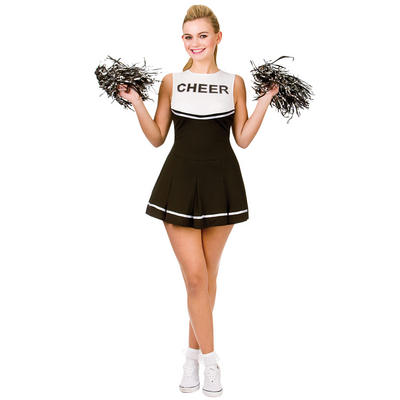 Ladies Cheerleader - Black/White Fancy Dress Halloween Costume