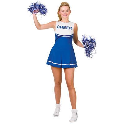 Ladies Cheerleader - Blue/White Fancy Dress Halloween Costume