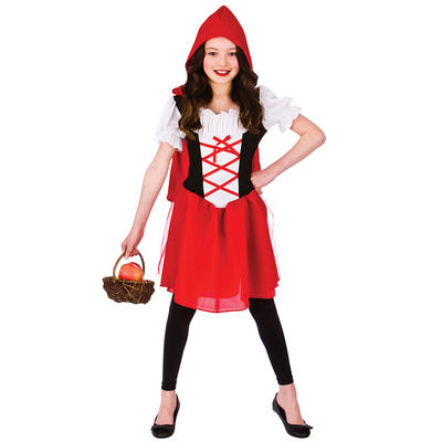 Girls Fairy Tale Little Red Riding Hood Fancy Dress Costume