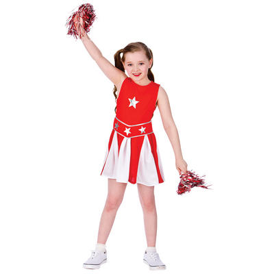 Girls Red & White High School Cheerleader Fancy Dress Costume