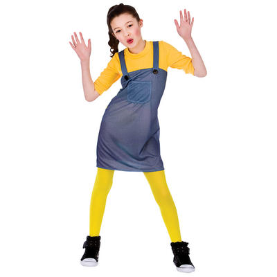 Girls Yellow Mischievous Worker Fancy Dress Costume