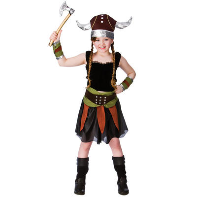 Girls Norse Viking Halloween Fancy Dress Costume