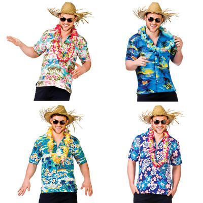 Mens Funny Hawaiian Luau Fancy Dress Party Shirt