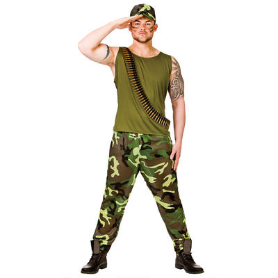 Adults Army Guy Man Fancy Dress Up Party Costume