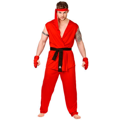 Adults Martial Arts Fighter Fancy Dress Up Costume New