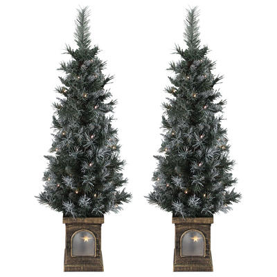 Battery Operated Set Of 2 Pre-Lit 4ft (120cm) Frosted Xmas Pathway Trees