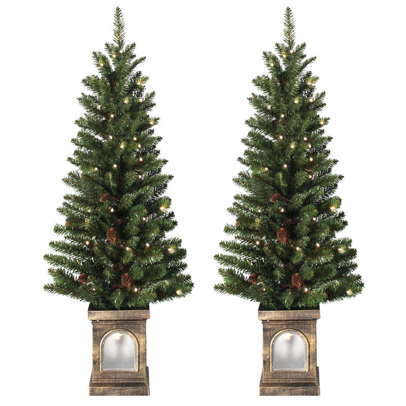 Battery Operated Outdoor Christmas Trees: Battery Operated Set Of 2 Pre-Lit 4ft (120cm) Green Xmas