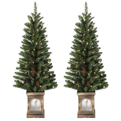 Battery Operated Set Of 2 Pre-Lit 4ft (120cm) Green Xmas Pathway Trees